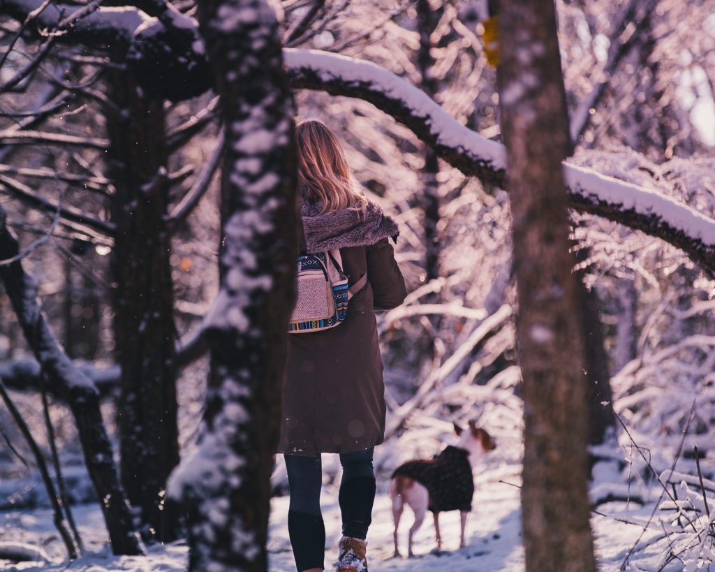 A girl walks with a service dog in Pennsylvania National Park